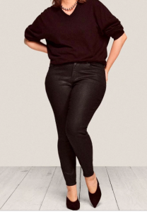 Warp and weft black shiny skinny Jeans in up to size 24