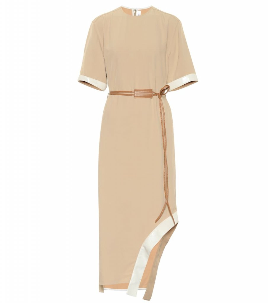 Victoria Beckham Leather-Trimmed Twill Midi Dress