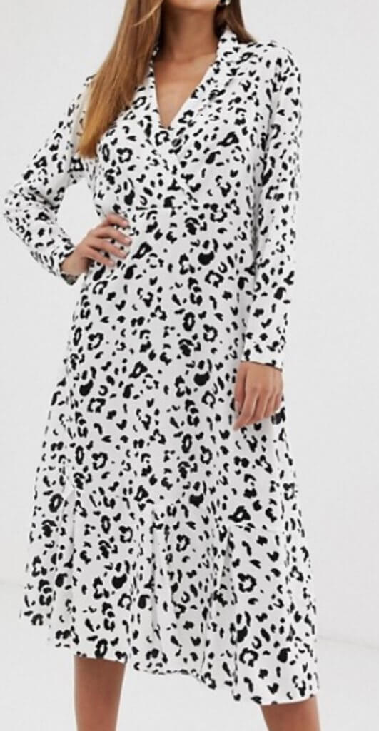 Asos Design Collar Detail Midi Dress In Mono Leopard Print