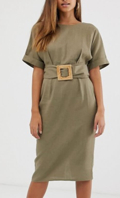 Asos Design Midi Wiggle Dress In Linen With Buckle Belt