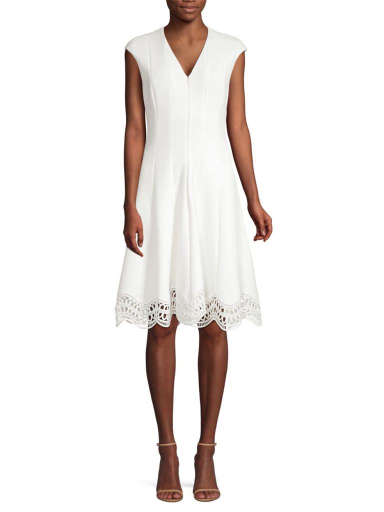 Elie Tahari Heidi Lace Eyelet Hem A-Line Dress