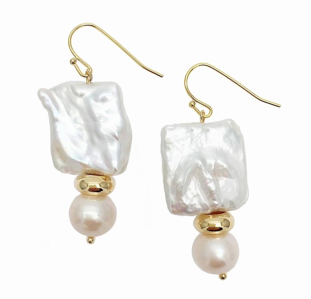 Farra Rectangular & Round Freshwater Pearls Drop Earrings