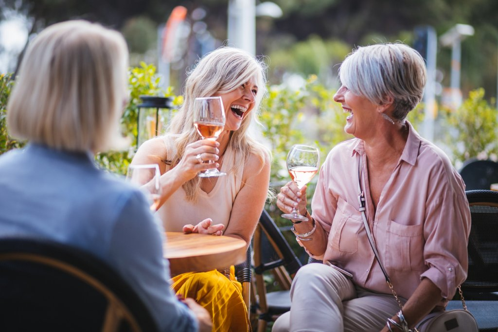 Mature Women Drinking Wine