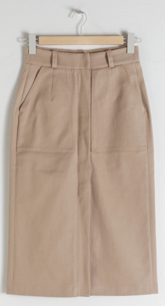 & Other Stories Stretch Cotton Pencil Skirt
