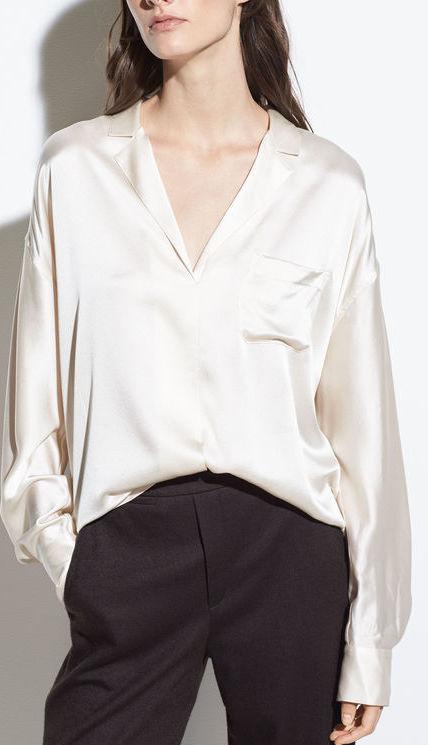 Vince Silk-Satin Pajama Popover