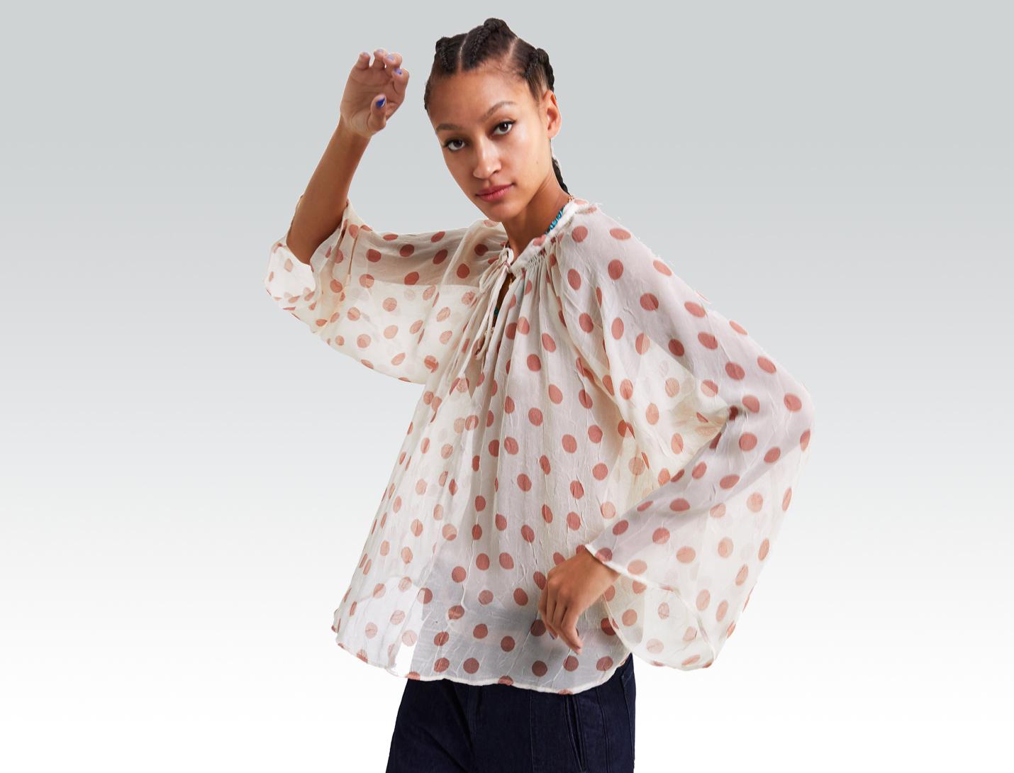 polka-dot blouse from zara