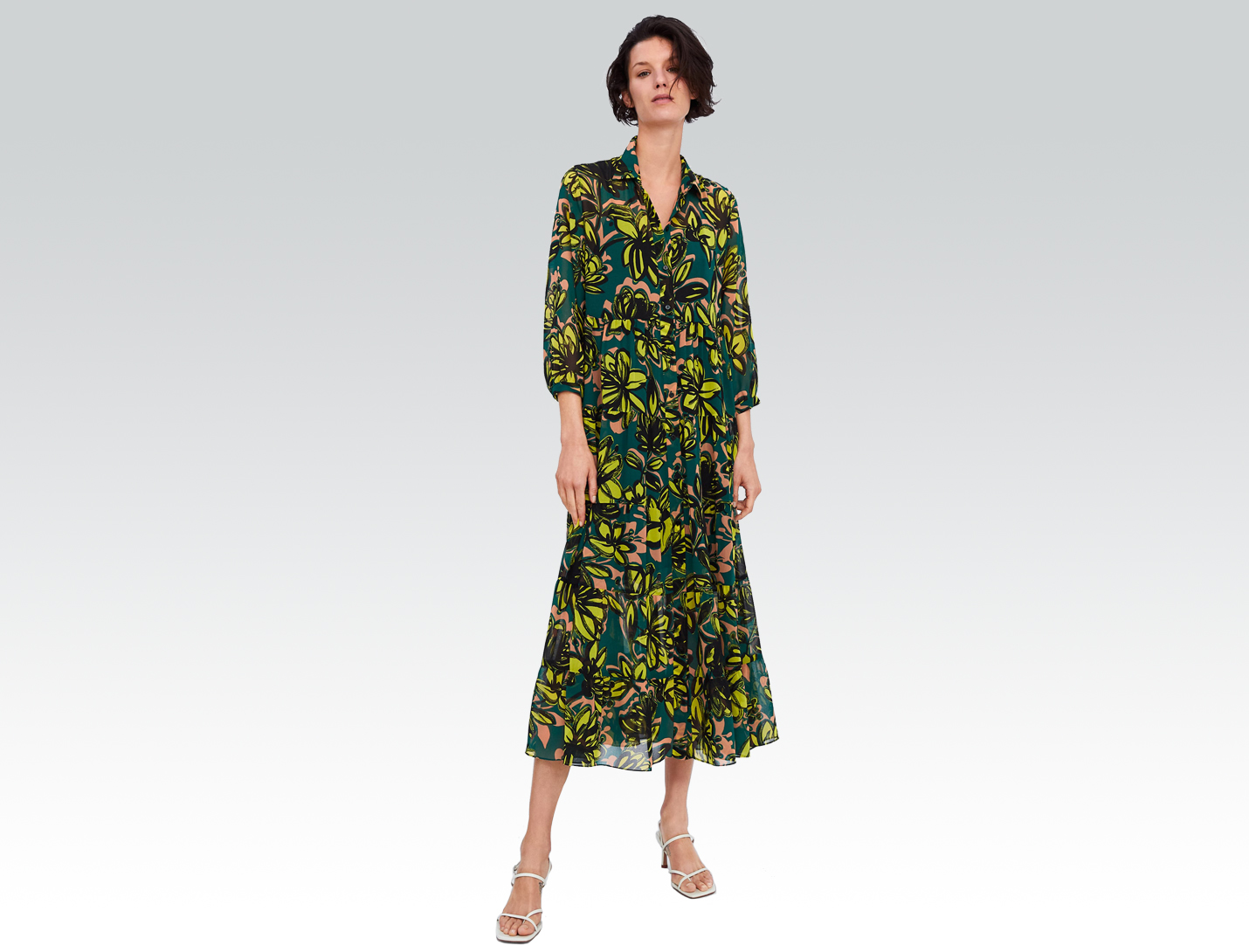 floral spring dress from zara