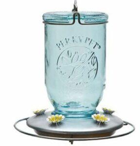 Mason Jar Hummingbird Feeder, Blue Mason Jar