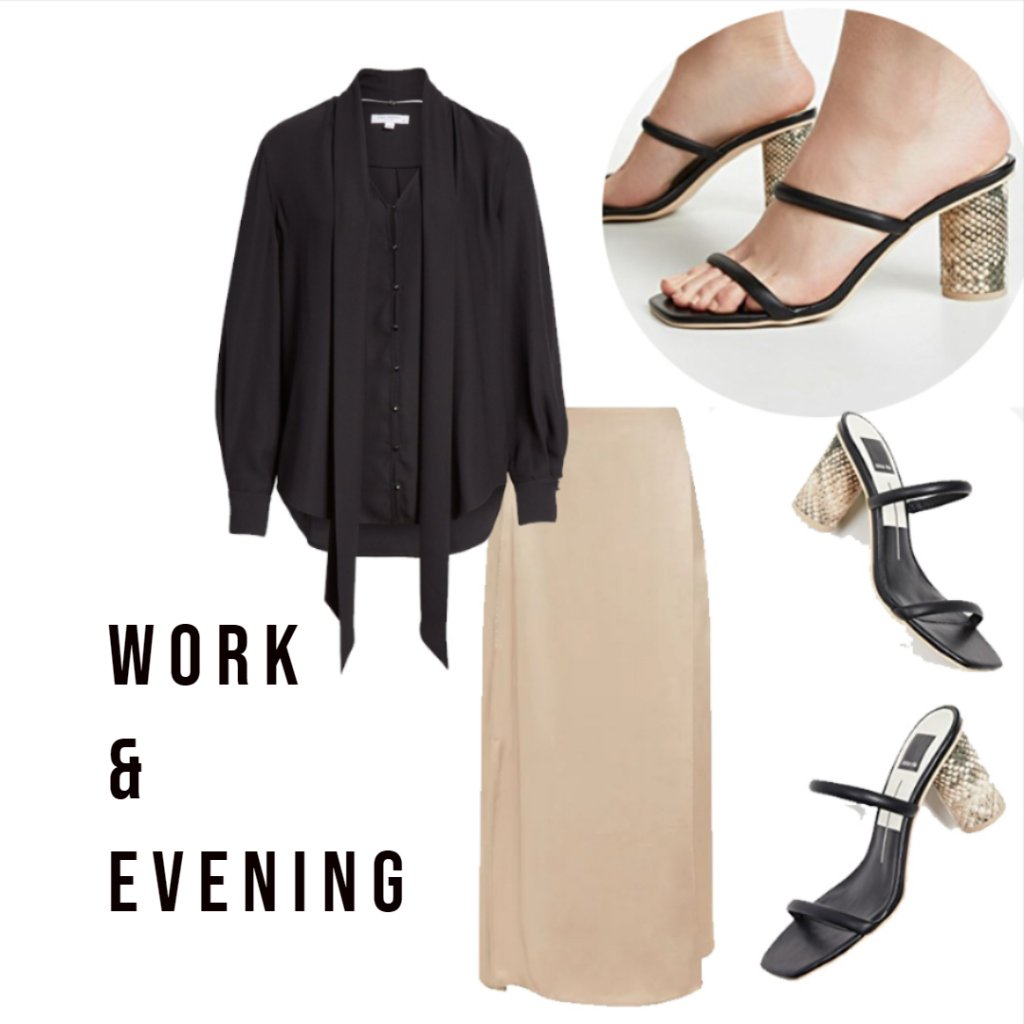 Work and Evening Ensemble with Naked Shoe