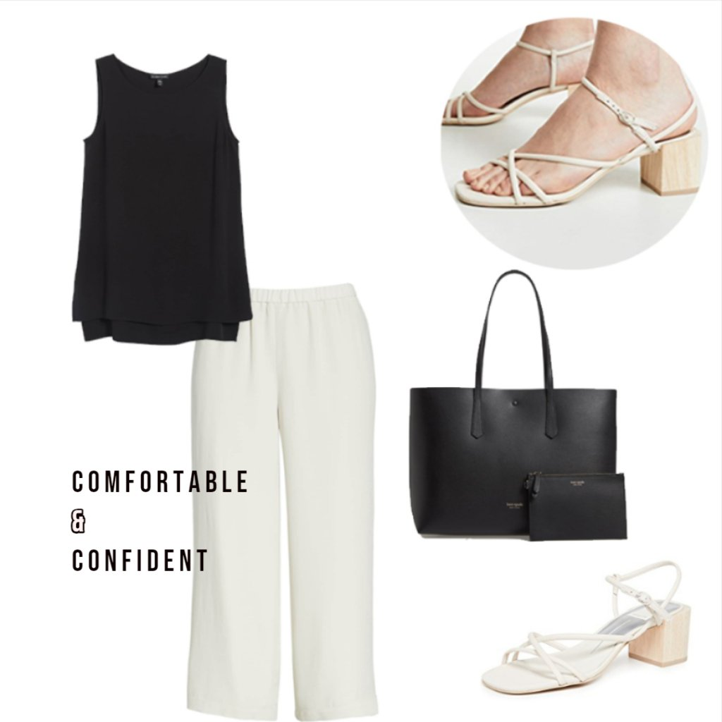 Comfortable and Confident Ensemble with Naked Shoe