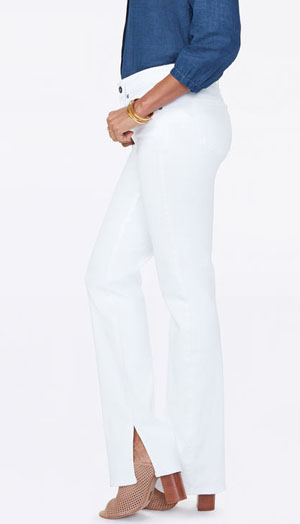 NYDJ Side Slit Straight Leg white jeans for women