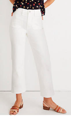slim wide leg white jeans for women by Madewell