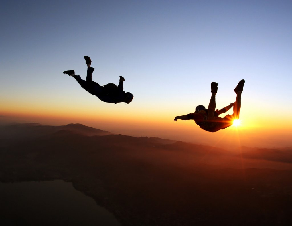 Skydiving at Sunset