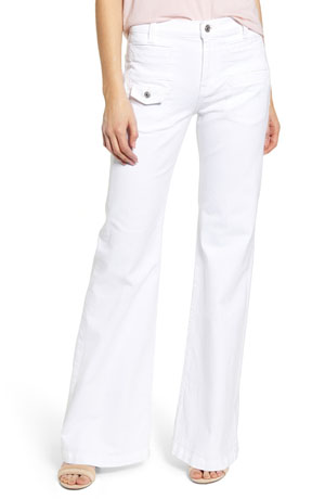 Flared-trouser-style white jeans for women 7 of all mankind