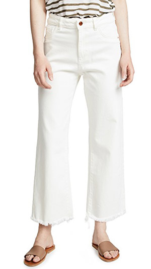 Hepburn wide leg high rise white jeans with frayed hem at shopbop