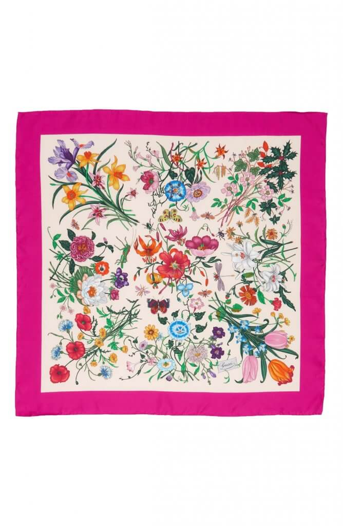 GG Flora Fluorescent Border Silk Scarf