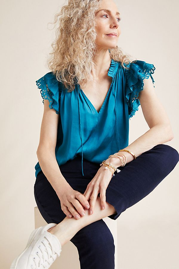 Anthropologie Ruffled Satin Blouse