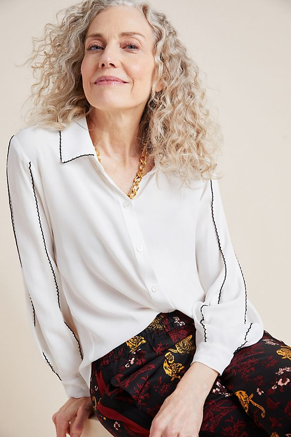 Anthropologie Scalloped Buttondown