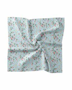 Aqua Floral Silk Blend Scarf