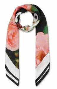 Rose & Logo Silk Twill Scarf
