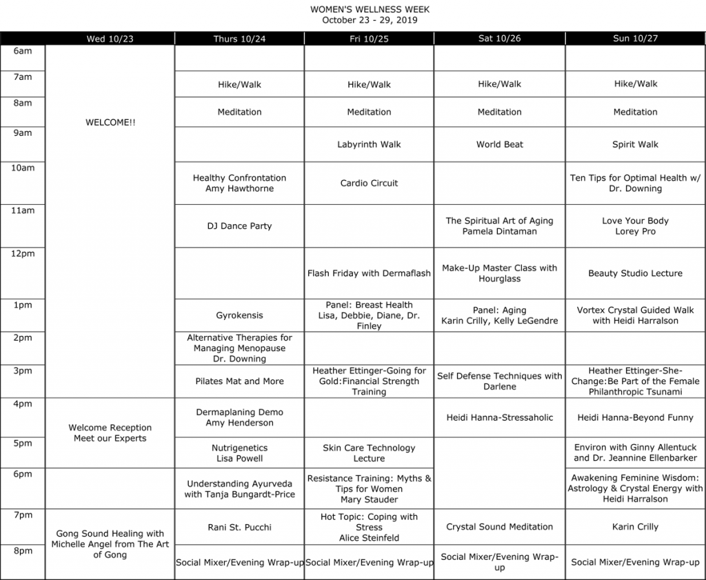 Canyon Ranch Wellness Week Activities Schedule