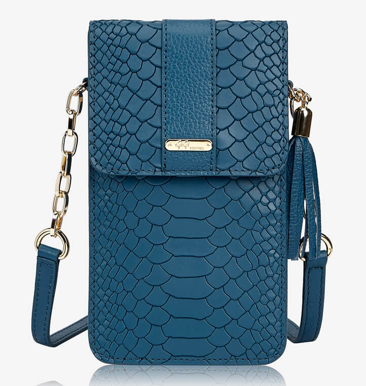 Gigi New York Penny Phone Crossbody Bag In Denim Embossed Python