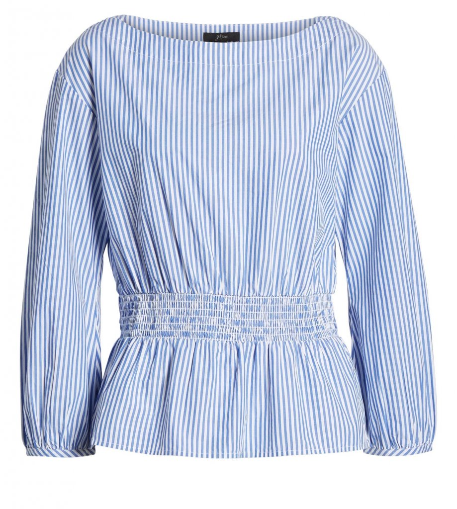 JCrew Boat Neck Top in Stripes, Main, color, MISSY STRIPE SAPPHIRE Smocked Boat Neck Top in Stripes