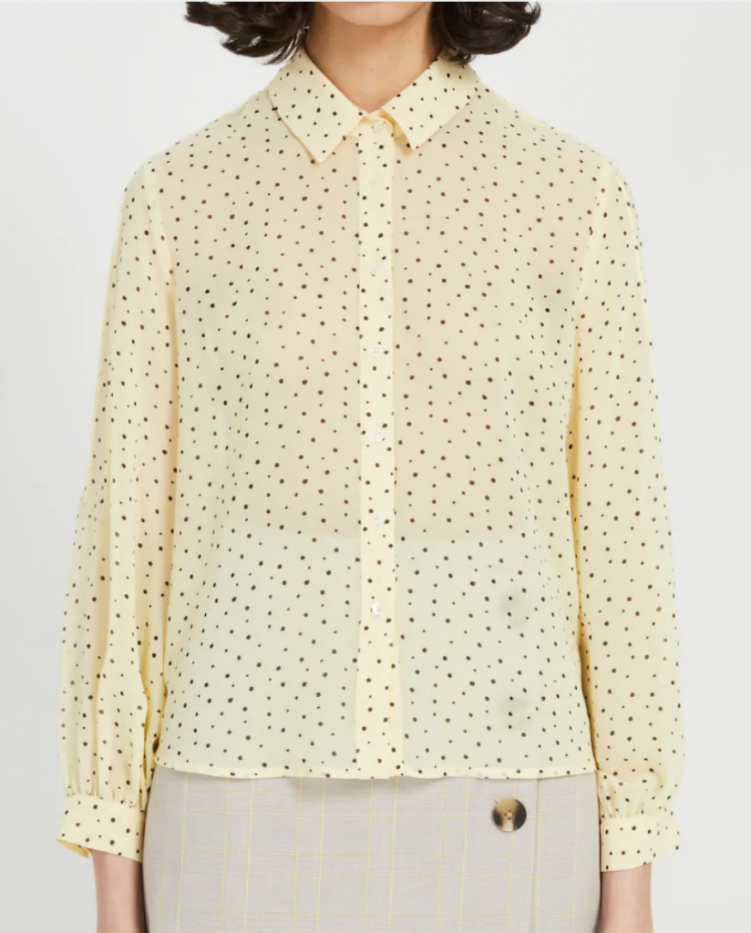 Long-Sleeved Printed Blouse in Sunlight yellow
