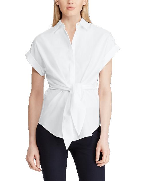 Ralph Lauren Tie-Front White Blouse
