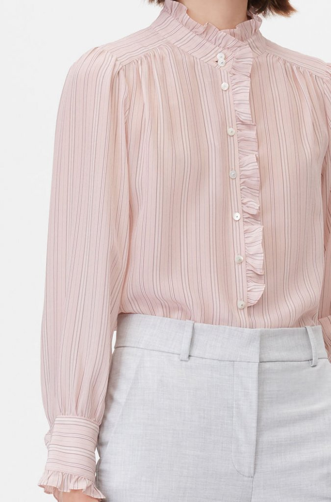 Rebecca Taylor Tailored Silk Strip Blouse