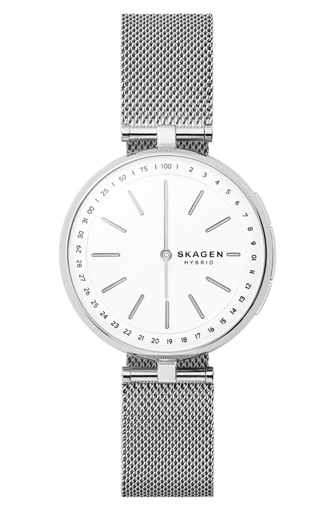 Skagen Signatur Connected T-Bar Mesh Strap Hybrid Smart Watch, 36mm