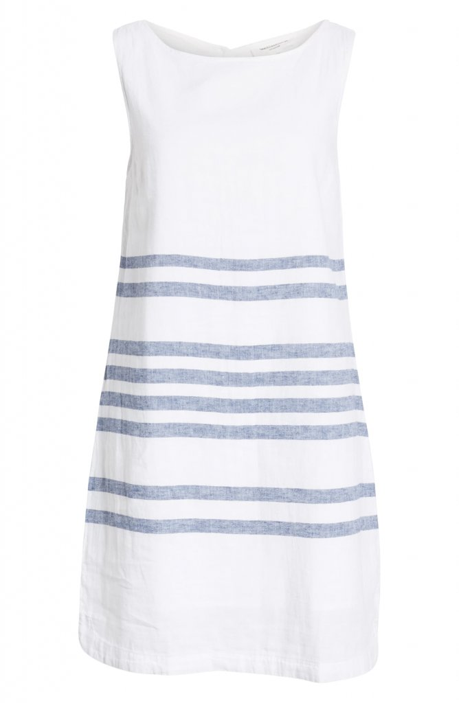 BeachLunchLounge-Alina Stripe Linen & Cotton Shift Dress