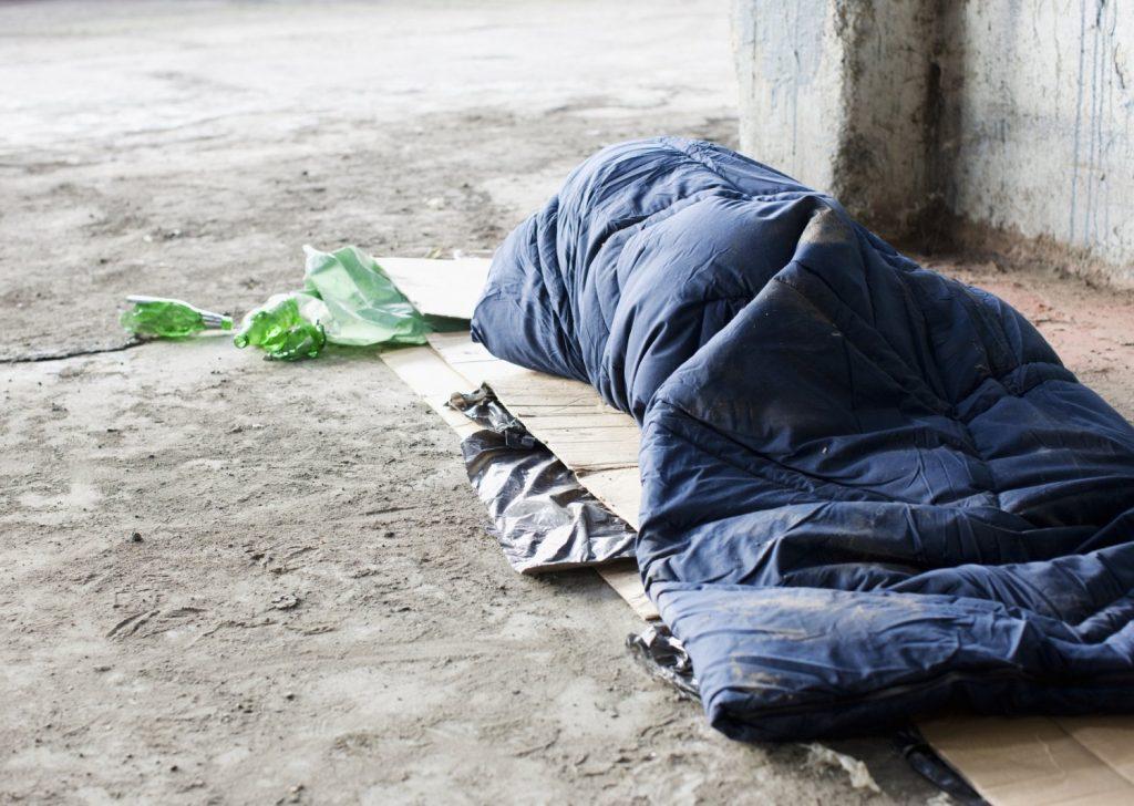 Sleeping like homeless people for a nigh