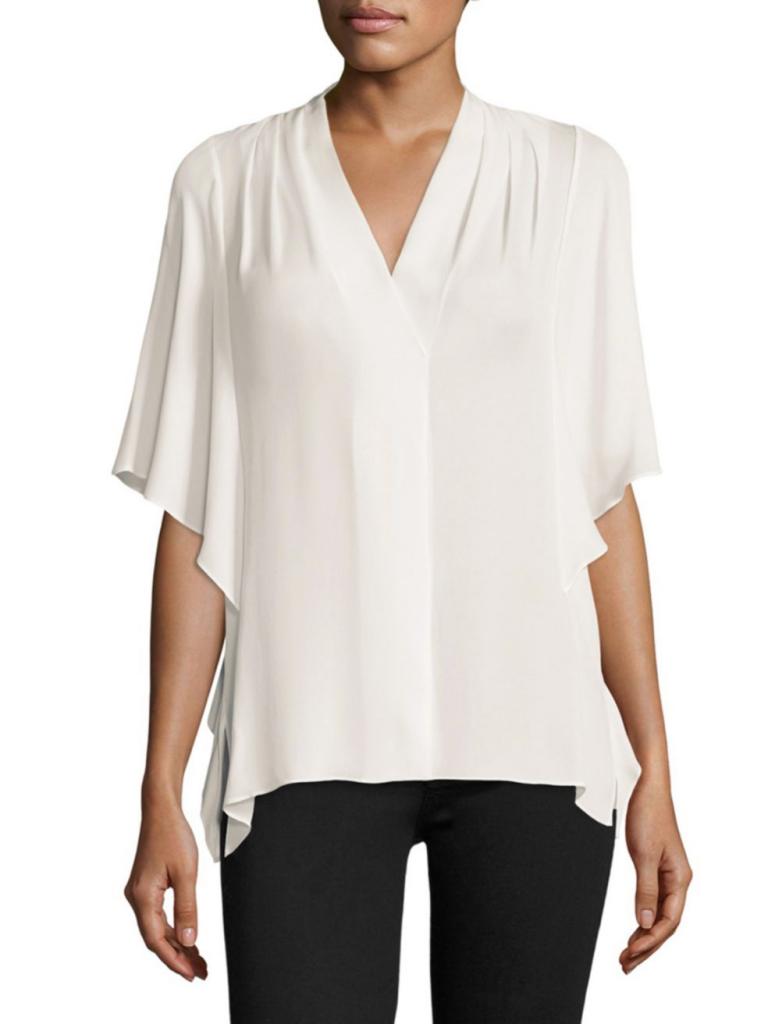Kobi Halperin Carin Silk Kimono White Blouses -model