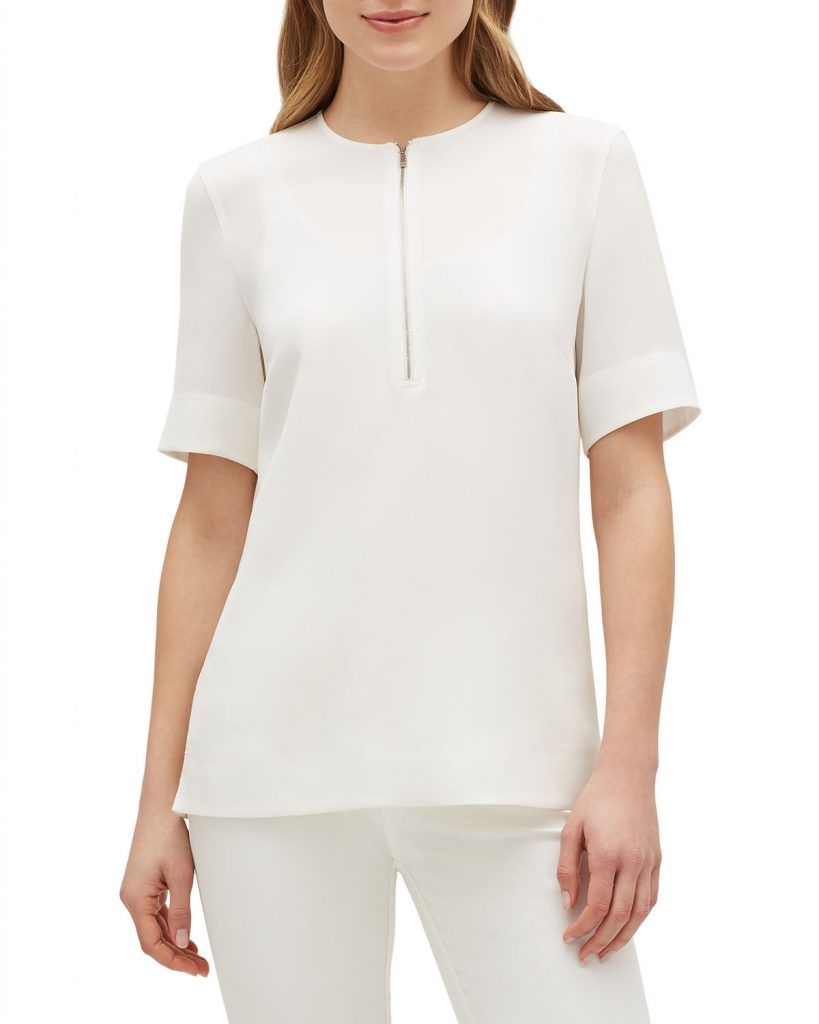 Lafayette 148 New York Durham Finesse Crepe Zip-Front Short-Sleeve White Blouse - model