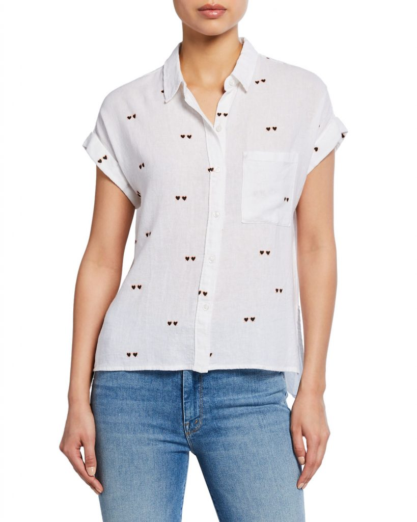 White Blouses Rails Whitney Hearts Button-Front Shirt