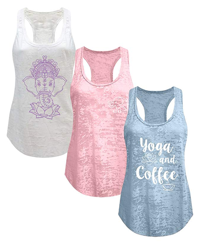 Tough Cookie's Women's Burnout Elephant Lotus Small Yoga Coffee Tank Top 3 Pack Yoga poses for Back Pain