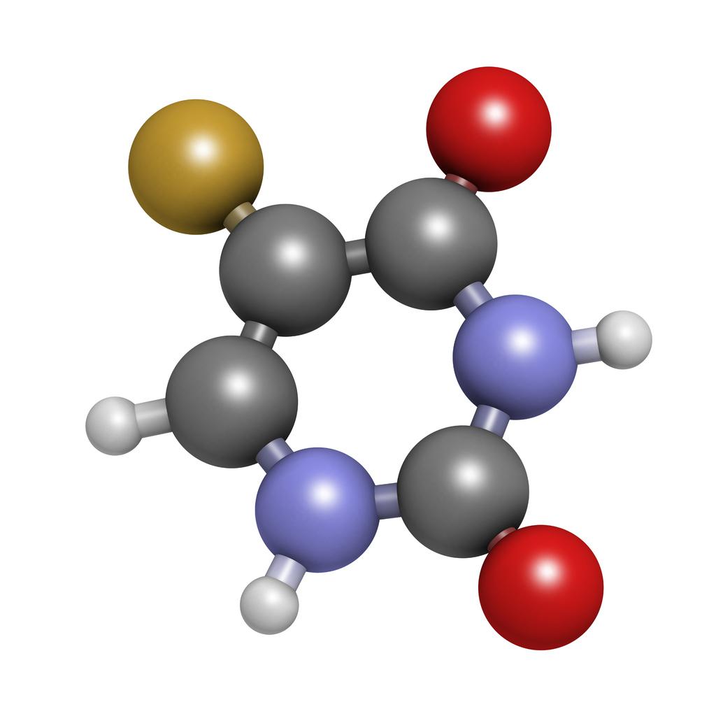 Fluorouracil (5-FU, FU) cancer chemotherapy drug molecule.