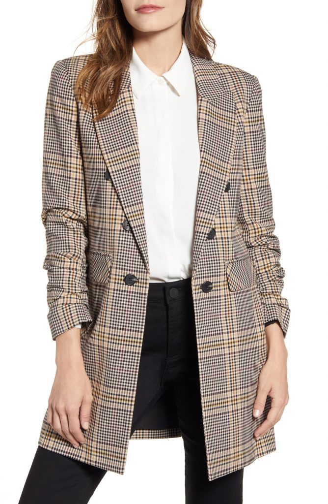 1-State Ruched Sleeve Plaid Blazer