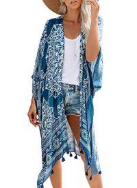 Dokotoo Womens Floral Print Kimono Tassel Casual Cardigan Loose Cover up