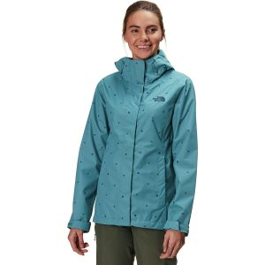 Teal blue polka dot rain jacket by North Face 4th of July sale