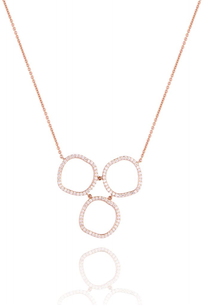 This modern halo 3 circle necklace by Lark and Berry is made with lab grown and therefore beyond ethically sourced diamonds