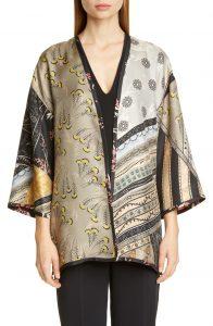 Kesa Reversible Mixed Floral Print Silk Kimono Jacket