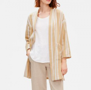 Linen Striped Kimono on Eileen Fisher Sale