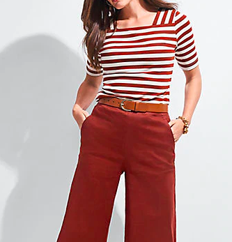 A transition piece like a striped top in fall colors is easy to layer
