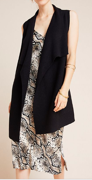 Long Black Knit vest makes the perfect transitional piece of clothing
