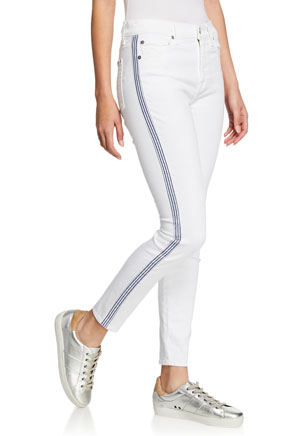 Side Stripe White Jeans for Women Neiman Marcus