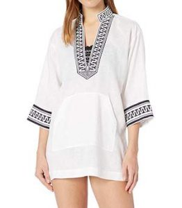 Tory Burch White and Navy Beach Cover Up