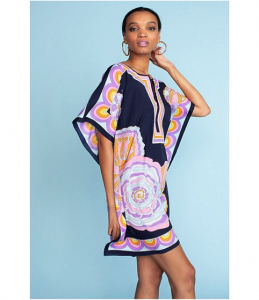 Scarf print tunic beach cover up