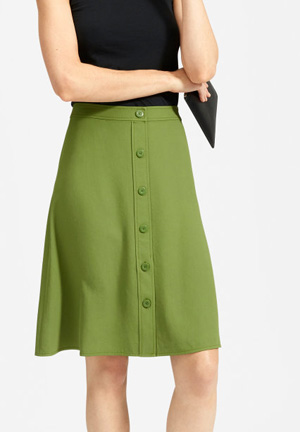 fig green a-line knee length skirt by everlane